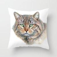 Street Cat portrait CC1402 Throw Pillow