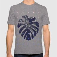Monstera + Dots Mens Fitted Tee Tri-Grey MEDIUM