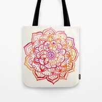 Watercolor Medallion in Sunset Colors Tote Bag