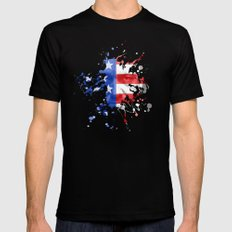 Frank Underwood  |  House Of Cards  |  Red, White & Blue Blood Spatter Mens Fitted Tee Black SMALL