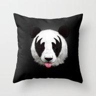 Throw Pillow featuring Kiss Of A Panda by Robert Farkas