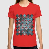 SquareTracts Womens Fitted Tee Red SMALL
