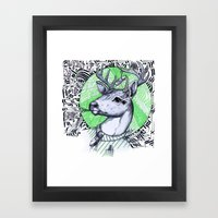 Deer In Dress Code  Framed Art Print