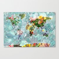 World Map of Flowers Canvas Print