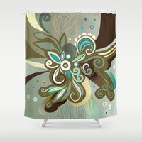 Floral curves of Joy, olive Shower Curtain