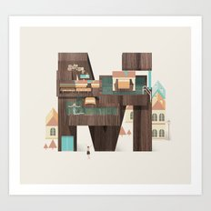 Resort Type - Letter M Art Print