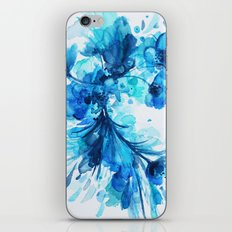 Blue Watercolor Floral iPhone & iPod Skin
