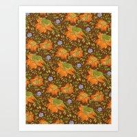 Green bird pattern Art Print