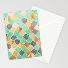 Charcoal, Mint, Wood & Gold Moroccan Pattern Stationery Cards