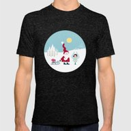 Santa And The Little Ang… Mens Fitted Tee Tri-Black SMALL