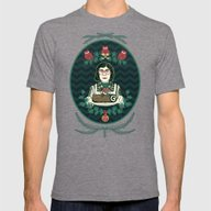 Yule Log Lady (in Green) Mens Fitted Tee Tri-Grey SMALL