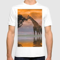 Giraffe at Sunset Mens Fitted Tee SMALL White