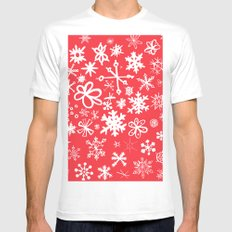 Snowflakes Mens Fitted Tee White SMALL