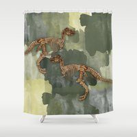 Dinosaur Skeleton And camouflage Watercolour All Over Print Shower Curtain
