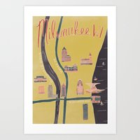 Downtown Milwaukee Map Art Print
