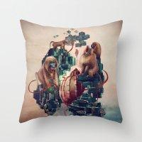 monkey temple Throw Pillow