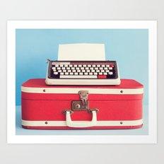 Retro art, typewriter and vintage suitcase  Art Print