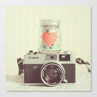 Canvas Print featuring Vintage Camera Love  by Mandy_faith