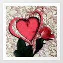 Pink Rose Vintage Lace Valentine Art Print