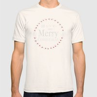 Merry Christmas Mens Fitted Tee Natural SMALL