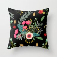 Black Bouquet Throw Pillow