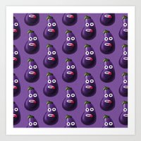 Funny Cartoon Eggplant P… Art Print