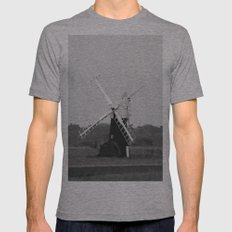 Windmill, Norfolk Broads, England Mens Fitted Tee Athletic Grey SMALL