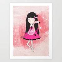 Flavia and Flamingo Art Print