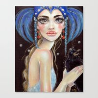 Lenore and the Three Eyed Raven Lowbrow  Canvas Print