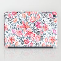 Coral and Grey Candy Striped Crayon Floral iPad Case
