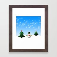 Cool Snowman And Sparkly… Framed Art Print