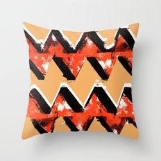 Orange and Black Zig Zag Pattern Print Throw Pillow