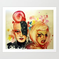 Lady Michel und Elektra Trash (VIDEO IN DESCRIPTION!) Art Print