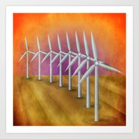 Windfarm At Sunset Art Print