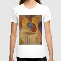 Acoustic Guitar Womens Fitted Tee White SMALL