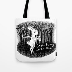 Ghost bunny likes coffee Tote Bag