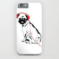 iPhone & iPod Case featuring Pug Dog with earphones  by ialbert