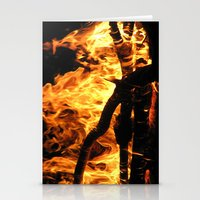 Camp Fire At Night Stationery Cards