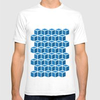 Blue Boxes Mens Fitted Tee White SMALL
