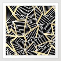 Ab Lines 2 Gold Art Print