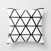 WHITE & BLACK TRIANGLES  Throw Pillow