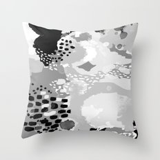 Rion - Modern minimal black and white abstract painting brooklyn nyc home decor canvas abstract art Throw Pillow
