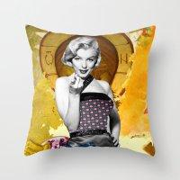 Golden Marilyn Monroe  By Zabu Stewart Throw Pillow