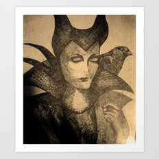 maleficent sketch Art Print