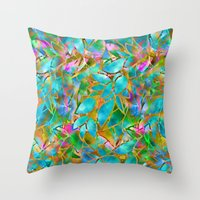 Floral Abstract Stained … Throw Pillow