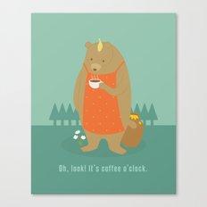 Bear Drinking Coffee Canvas Print