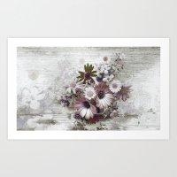 Daisies on Worn Wood Art Print