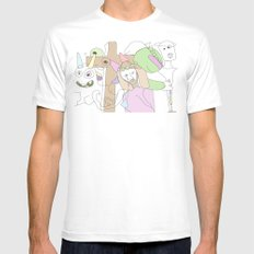Funland 3 SMALL White Mens Fitted Tee