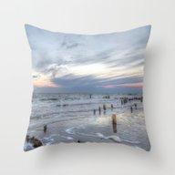 Cold Sundown At The Beac… Throw Pillow