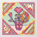Spring Friends Quilt Block - Squirrel and Flowers - Folk Art Canvas Print